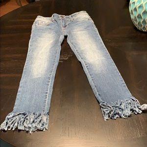 Girls fringe bottom jeans